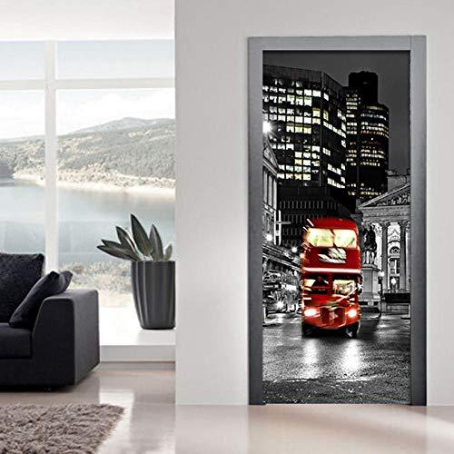 3D Pegatinas de Puerta Mural de Puerta Adhesivos para Puertas 77X200 cm Póster autobús rojo Autoadhesivo Puerta Impermeable Vinilos PVC Hogar Pegatina Paredes Decoración