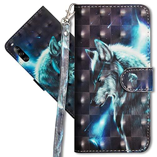 MRSTER Sony Xperia L4 Handytasche, Leder Schutzhülle Brieftasche Hülle Flip Hülle 3D Muster Cover mit Kartenfach Magnet Tasche Handyhüllen für Sony Xperia L4. YX 3D Wolf