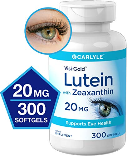 Lutein and Zeaxanthin 20mg | 300 Softgels | Eye Health Vitamins | Non-GMO & Gluten Free Supplement | by Carlyle