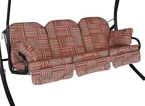 Angerer Deluxe Schaukelauflage 3-Sitzig Design Modena, rot, 180 x 50 x 56 cm, 1018/218