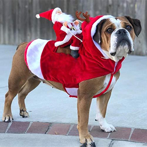 Chengstore Weihnachtsmann-Hundekostüm Weihnachten, Weihnachtsmann-Reithirsch-Hunde Kleiden Oben Weihnachtskostüm, Für Hund Haustierbekleidung Chihuahua Yorkshire Pudel L