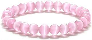Kicomvi 10MM Tiger Eye Bracelet Beaded Stone Stretch Bracelet Natural Gemstone Chakra Healing Crystal Bracelet Stress Reli...