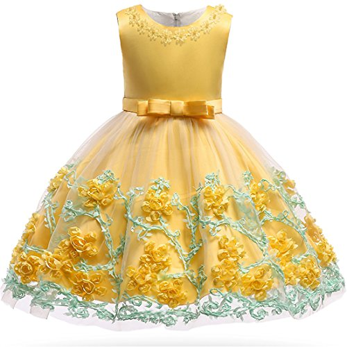Toddler Baby Flower Girl Sleeveless Lace Special Occasion Dress Sleeveless Embroidered Wedding Birthday Layered Cake Dresses Yellow Size 24 Months Tutu Ball Gown 1T Summer Playwear Dress (Yellow 24M)