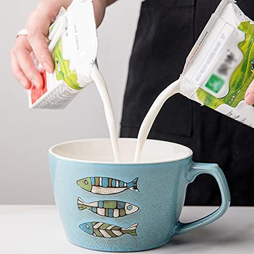 YLMF Taza de café de cerámica de 22 oz, Gran Capacidad, 650 ml, Retro, Pintado a Mano, con Leche/Avena/Fruta, Horno microondas, Apto para lavavajillas, Regalo para Trabajadores de Oficina o am