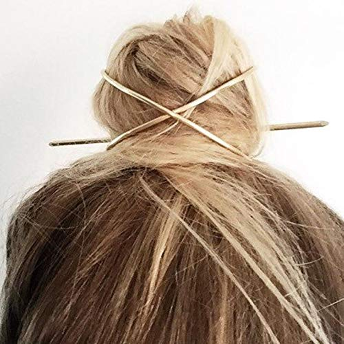 Hair Stick Pin - New Hair Accessories Arrival Metal Gold Filled X Shaped Bun Holder Charming Vintage Bun Cage - A378