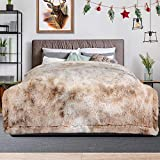 Lvylov Decorative Soft Fluffy Faux Fur Blanket Full/Queen Size 90' x 90',Reversible Long Shaggy Cozy Furry Blanket,Big Comfy Microfiber Accent Chic Plush Fuzzy Bed Blanket,Breathable & Washable,Beige