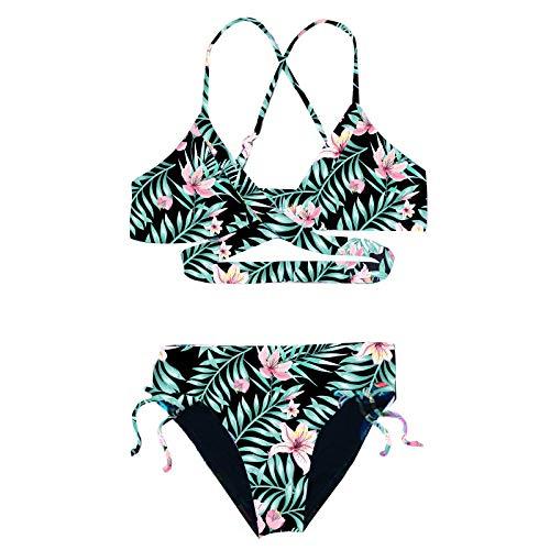 Doomiva Mädchen Bikini Set Zweiteiler Badeanzug Tankini Set Bikini Oberteil + Bikinislips Teenager Blumendruck Bademode Schwimmanzug Grüne Lilie 146-152