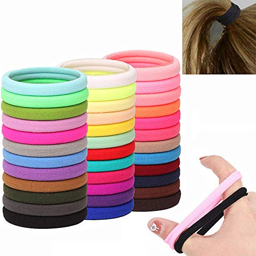 MOSHNOLY Hair Ties for Women Thick Elastics Seamless Ponytail Holders 24 Colors 120 PCS Cotton Ouchless No Crease Damage Large Girls Scrunchies