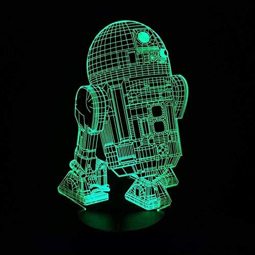 3D Illusion Lamp Figura Robot R2D2 Star Effect Warfare Fan,3D LED Luz Nocturna para Niños, 7 Colores Cambian con Control Remoto, Regalos para Niños Niñas