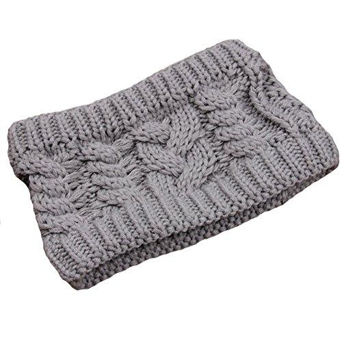 Les filles d'hiver tricoté bandeau tressé oreille plus chaud, Gris clair