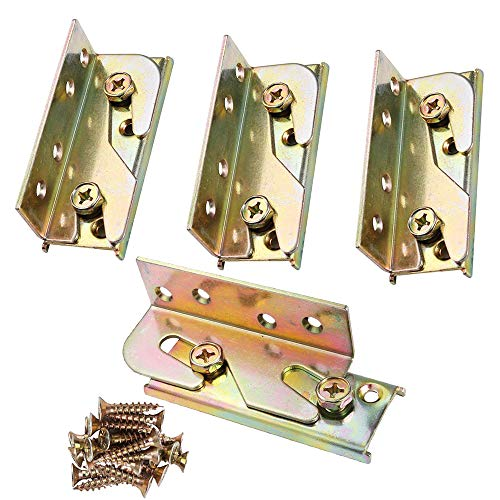 4 Sets Bed Rail Brackets Heavy Duty No-Mortise Fittings Wooden Frame Connectors
