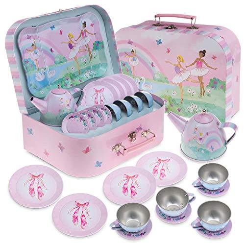 Jewelkeeper - Zinn Teeservice für Mädchen & Tragetasche, Kindergeschirr Spielküche, 15-teilig - Ballerina Design