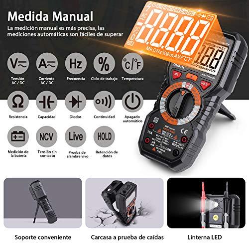 Tacklife DM01M Multímetro Digital profesional 6000 counts, 1000V TRUE RMS Rango...
