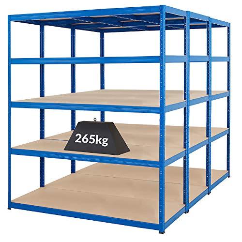 Certeo Mega Deal | Set aus 3x Schwerlastregal (Tiefe 60 cm) |Fachlast 265 kg pro Fachboden | Metallregal Kellerregal Lagerregal Werkstattregal Garagenregal |Belastbar mit 1325 kg