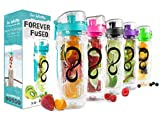 Live Infinitely 32 oz. Infuser Water Bottles - Featuring a Full Length Infusion Rod, Flip Top Lid, Dual Hand Grips &...