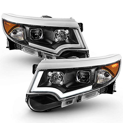 ACANII - For [Halogen Model Only] 2011-2014 Ford Edge Black Housing LED DRL Projector Headlights Headlamps Left+Right