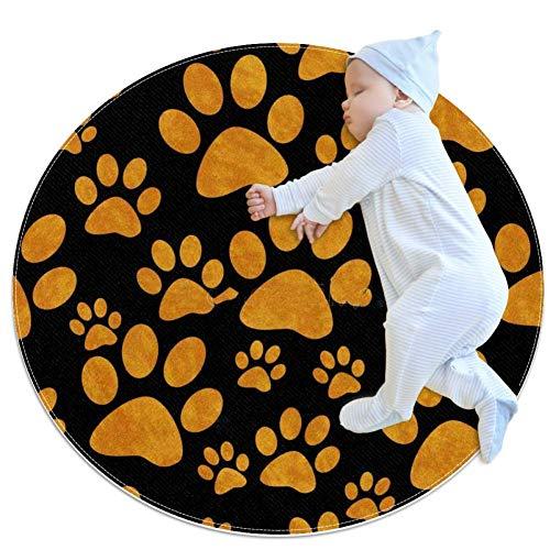 chuangxin oranje en zwarte hond PawBaby tapijt voor kinderdagverblijf Kids ronde warme zachte activiteit Mat vloerbedekking Anti-slip voor kinderen Peuters Slaapkamer, 27.6x27.6IN