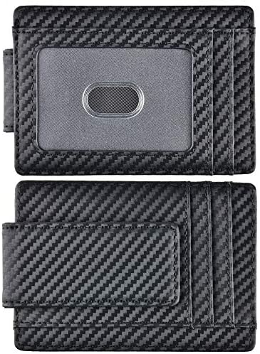 Kinzd Money Clip Front Pocket Wallet Leather RFID Blocking Strong Magnet thin Wallet Carbon product image