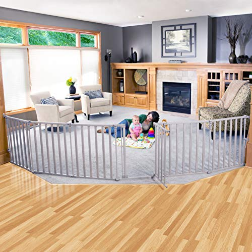 "Toddleroo by North States 3 in 1 Extra Wide Wood Superyard: 151"" Long Extra Wide Baby gate, Barrier or Play Yard. Hardware or freestanding. 6 Panels, 10 sq.ft. Enclosure (30"" Tall, Light Gray)"