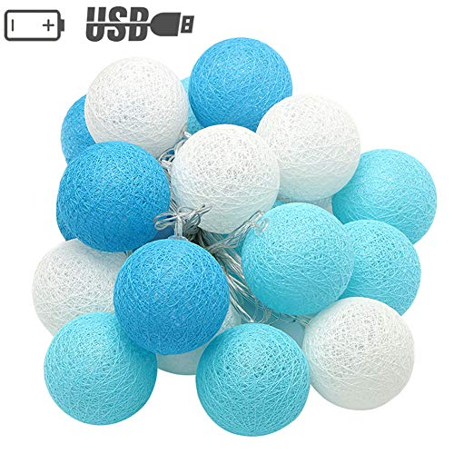 XIYUNTE LED Cotton Ball String Lights - 9.8FT/ 20LED Blue White Cotton Ball String Lights,Fairy Lights for Home Party Indoor Lights,Christmas String Lights (Diameter: 4cm)
