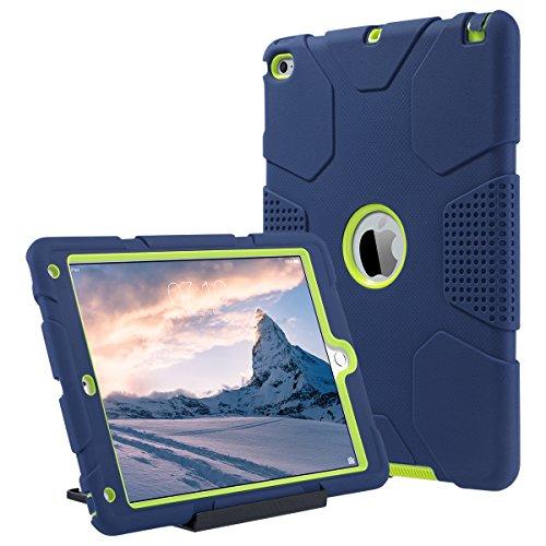ULAK iPad Air 2 Case, iPad Air 2 Case for Kids, Heavy Duty Shockproof Case with Kickstand Triple-Layer Drop Proof Case Cover for iPad Air 2 with Retina Display/iPad 6, Navy Blue/Green