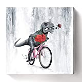 Funny Wall Art Dinosaur Canvas Print Animal Painting Dinosaur Show Love Pictures Valentine's Day Proposal Gift Poster Stretched and Framed for Bedroom Living Room Bathroom Decor 24x24inch
