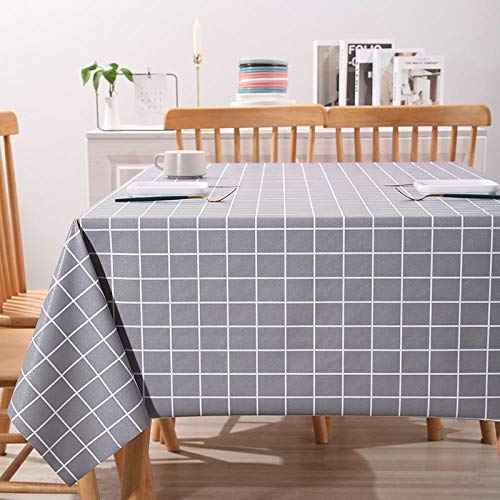 Kuingbhn Home Decorative Wipeable Tablecloth Rectangle Pvc Household Water Resistant Tablecloth for Kids Table Gray 140×180cm