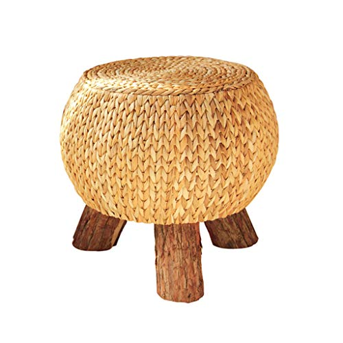 JIAX Taburete de almacenamiento multifuncion Stroh Sofa Bank - Trinken Tee Hocker Mode Kreative Schuhe Bank Heim Hocker Massivholz Niedriger Hocker Bank Hocker