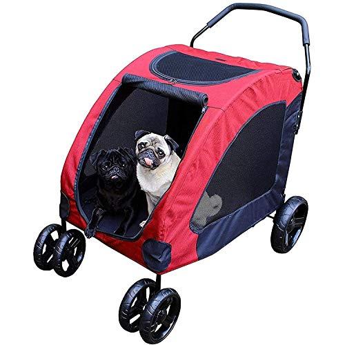 CWTC Pet Travel Cart - 4 Räder, faltbare Kennel, Large 360 Grad drehbar Hund/Katze Cradle Wagen, Kleinwagen, Maximum Gewicht 45 kg, Tresor Ruhe, Mesh-Fenster (Color : Red)