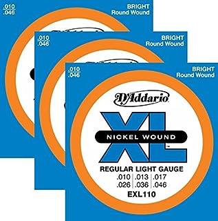 3 Sets - DAddario EXL110 Nickel Wound Electric Guitar Strings, Light Gauge