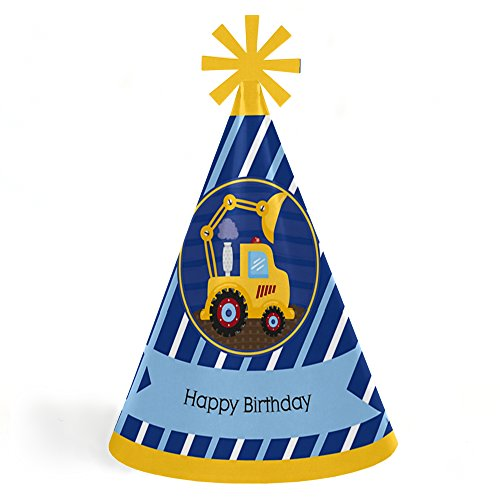 Big Dot of Happiness Construction Truck - Cone Happy Birthday Party Hats for Kids and Adults - Set of 8 (Standard Size)