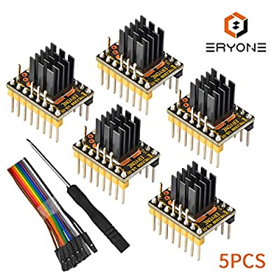 Eryone 5PCS TMC2209 Stepper Motor Driver Module Packed with Heat Sink Screwdriver for 3D Drucker MotherBoards Reprap MKS Prusa and More, Yellow