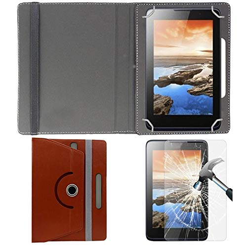 """Hello Zone Exclusive 360° Rotating 8"""" Inch Flip Case Cover + Free Tempered Glass for Xolo Tab 8 QC800 -Brown"""