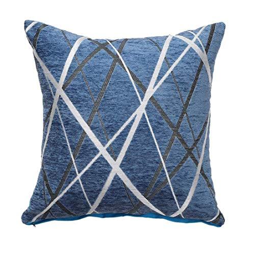 YeVhear - Funda de cojín decorativa, tejido de chenilla, moderna, conciso, suave, azul, cojín cuadrado para dormitorio, sofá, coche, 17 x 17 pulgadas