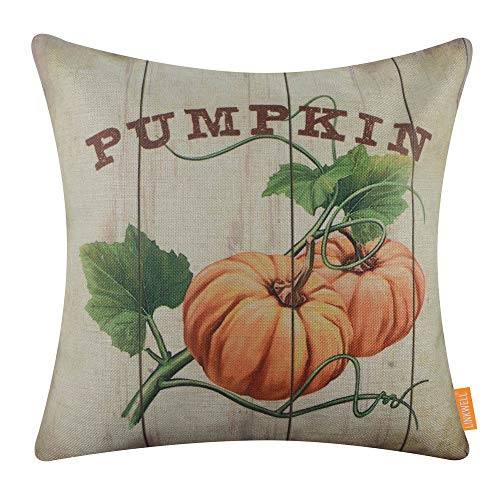 LINKWELL Farmhouse Fall Pillow Cover 18x18 inch Decorative Cushion Case Accent Home Decoration Retro Harvest Pumpkin CC1671