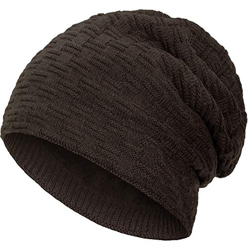 Compagno warm gefütterte Wintermütze Beanie Strickmütze Hat Herren Damen Mütze Haube Einheitsgröße, Farbe:Braun