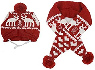 Alemon Pet Xmas Costume Accessories Knit Christmas Reindeer Scarf and Hat Set for Pet from Small to Large