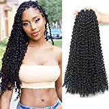 7 Packs Passion Twist Hair 18 Inch Water Wave Synthetic Braids for Passion Twist Crochet Braiding Hair Goddess Locs Long Bohemian Locs Hair (22Strands/Pack, 2#)