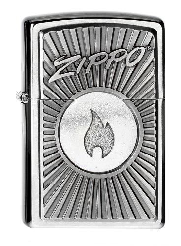 Zippo aansteker 2004092 logo met vlam, chroom geborsteld benzine-aansteker, messing, roestvrijstalen look, 1 x 3,5 x 5,5 cm