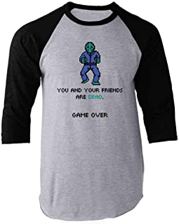You and Your Friends are Dead Game Over Gaming Raglan Baseball Tee Shirt