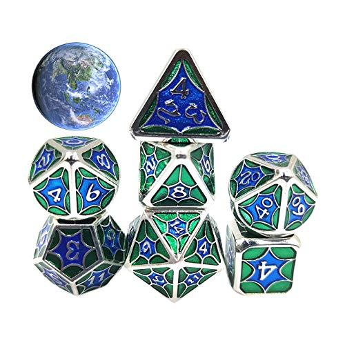 Wusuowei 7 Pcs/Set Alloy Metal Polyhedral Dices D20 D12 D10 D8 D6 D4 for DND RPG MTG Tabl