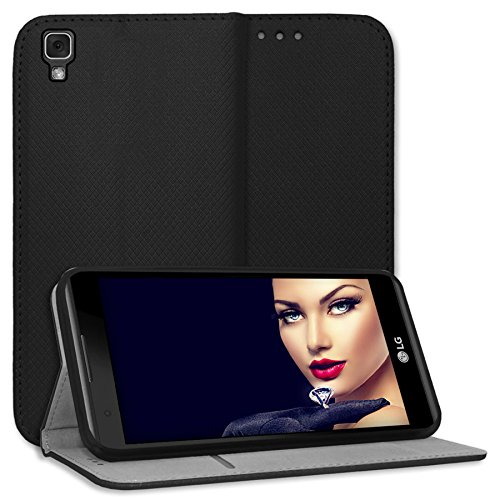 mtb more energy Funda Bookstyle para LG X Power (K220, 5.3'') - Negro - Cuero sintético - Carcasa Cubierta Estuche Carátula