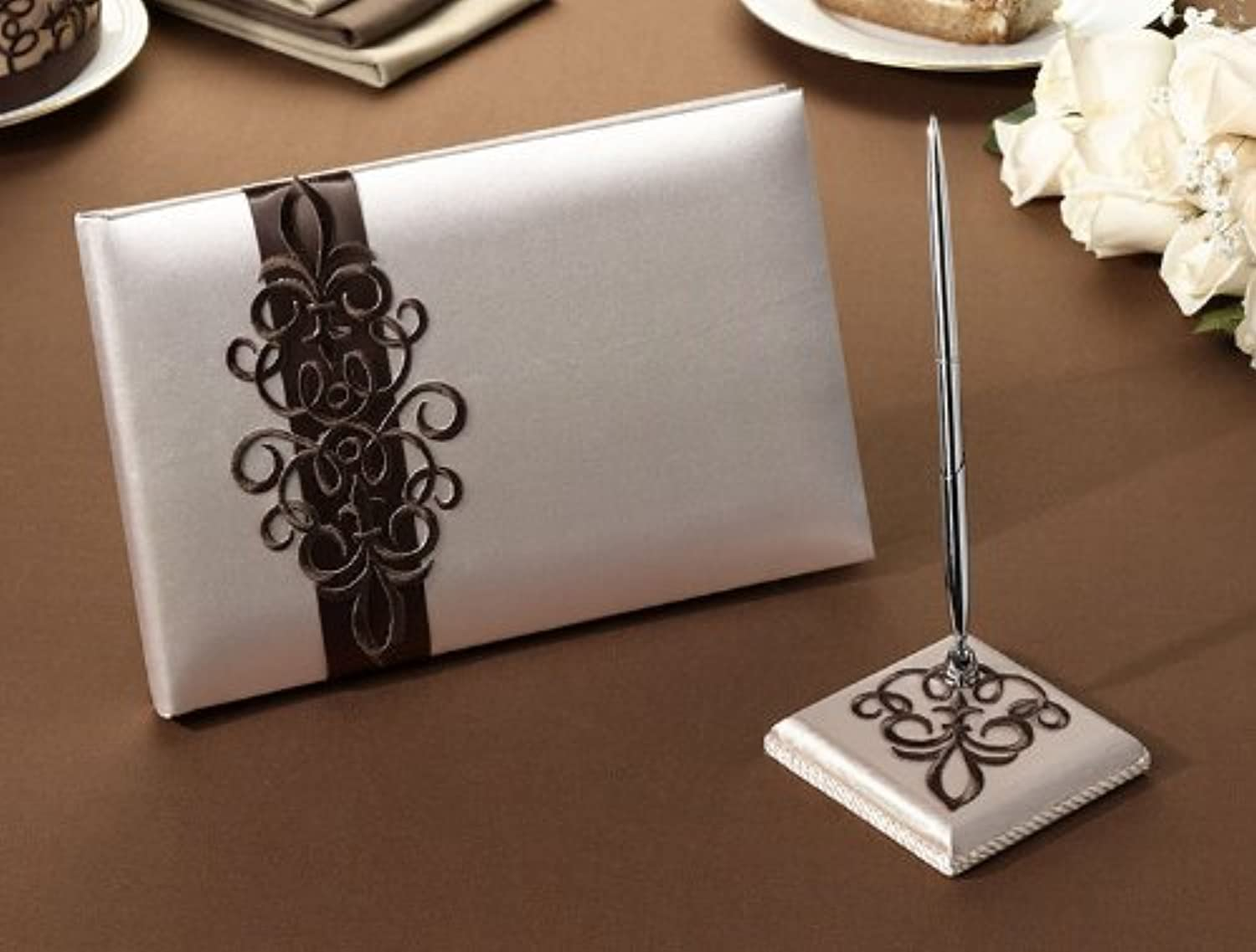 Brown Scroll Guest Book and Pen Set by Lillian pink