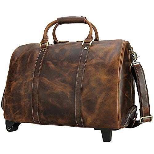 Luggage Leather Trolley Bag, Waterproof Duffle Bags for Men, Wheeled Travel Duffel Bag, Large-Capacity Travel Garment Bags, Best Weekend Bag