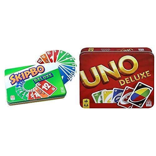 Mattel Games L3671 Skip-BO Deluxe in Metalldose Kartenspiel, geeignet für 2 - 6 Spieler, Spieldauer ca.30 Minuten & K0888 UNO Deluxe Kartenspiel, geeignet für 2 - 10 Spieler, Spieldauer ca.15 Minuten