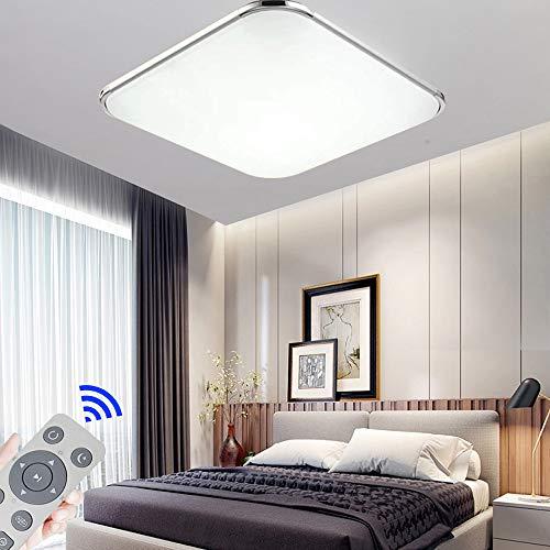 Regulable LED 24W lámpara de techo moderna LED luz de techo Cuadrado delgada 1920lm Plata para Dormitorio Cocina Sala de estar Comedor Balcón Pasillo (Regulable 3000K-6500K)
