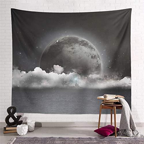 WERT Starry Moon Dream Tapiz Colgante de Pared Decoración para el hogar Sala de Estar Dormitorio Dormitorio Arte Fondo de Tela Toalla de Playa Manta de Picnic A11 95x73cm