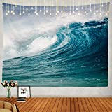 Shrahala Ocean Wave Tapestry, Surfing Barrel Wave Breaking Wall Hanging Large Tapestry Psychedelic Tapestry Decorations Bedroom Living Room Dorm(51.2 x 59.1 Inches, Blue 11)