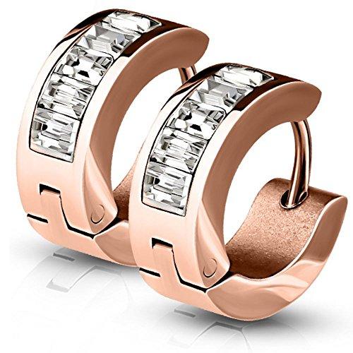Bungsa® Rosegold - Ohrringe Kristall rechteckig Edelstahl 1 Paar ## SILBER, GOLD, ROSEGOLD, SCHWARZ # (Ohrringe Ohrschmuck Ohrklemmen Studs Damen Frauen Herren Mode Earrings)