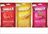 Halls Cough Drops Variety 3-Pack: Cherry, Strawberry & Honey Lemon (3 Packs, 30 Count Each, 90 Drops Total)